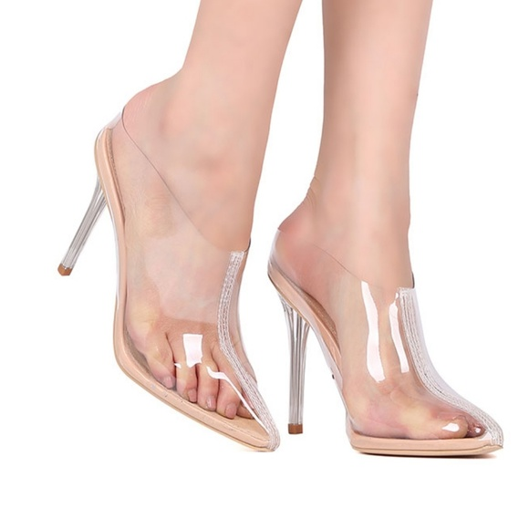e25057eb31 ASOS Shoes | Clear Mule Perspex Nude Heels | Poshmark